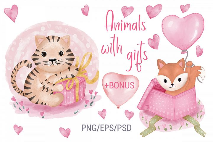 Illustrations of Animals. Animals with gift. Child Clipart