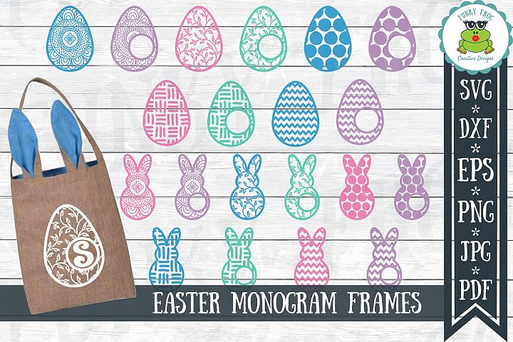Easter Monogram Frame Bundle - Egg and Bunny SVG Cut Files
