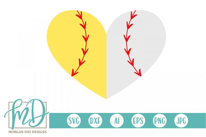Softball Baseball Heart SVG, DXF, AI, EPS, PNG, JPEG