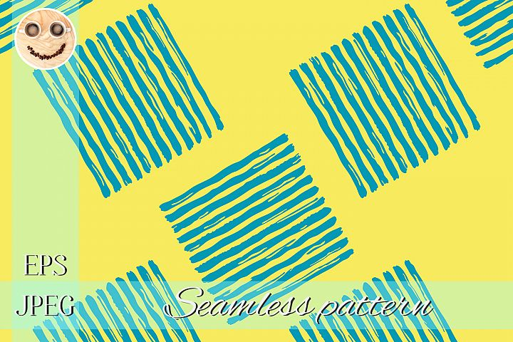 Blue paint stripes on the yellow seamless pattern