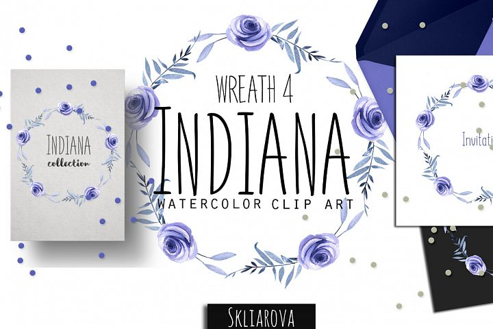 Indiana. Blue roses Wreath #4