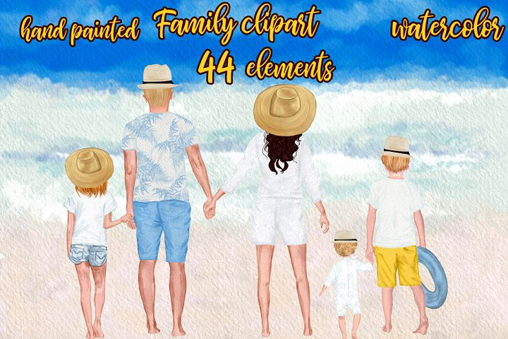 Summer family clipart Family figures Parents with kids