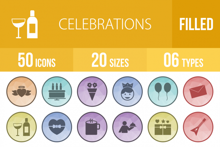 50 Celebrations Filled Low Poly Icons