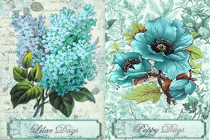 Printable journal pages with decoupage and clipart PNGs CU