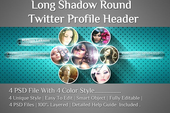 Long Shadow Round Twitter Profile Header Design