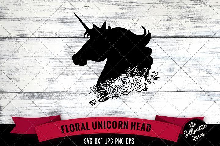 Floral Unicorn head 3 Svg Cut File
