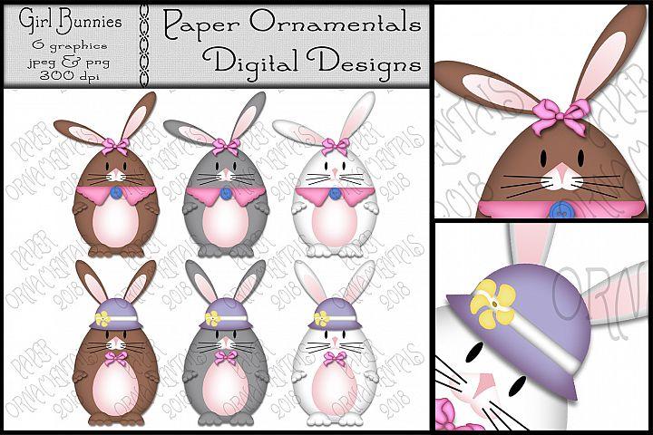 Easter Clip Art, Girl Easter Bunnies