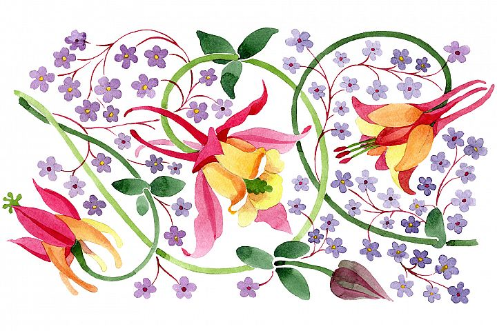Ornament for flower vase watercolor png