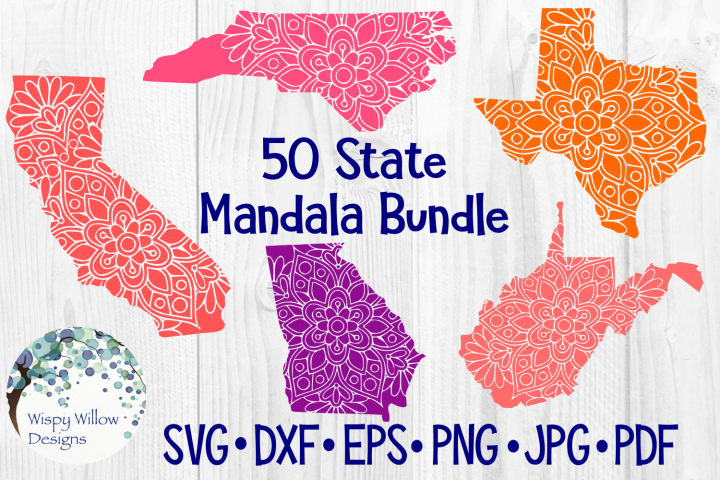 50 States USA Mandala Bundle, State SVG Cut File
