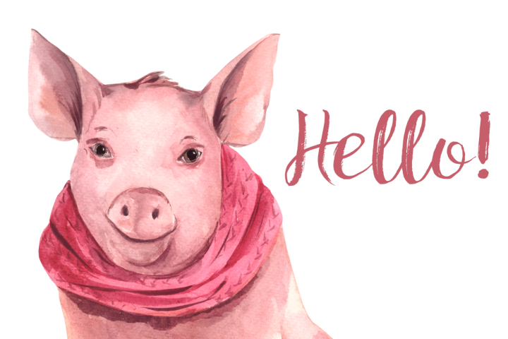 Watercolor Winter Piglet Print and Clip Art