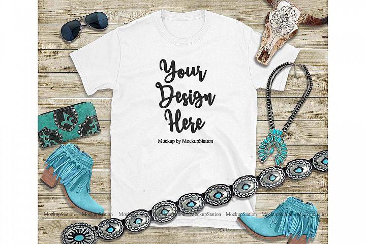 White T-Shirt Mock Up, Southern Western Gildan Shirt Mockup