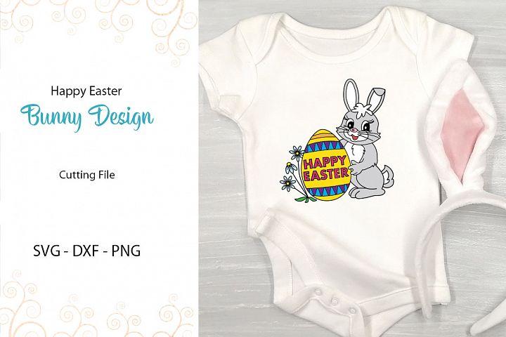 Happy Easter Bunny Design SVG - DXF - PNG