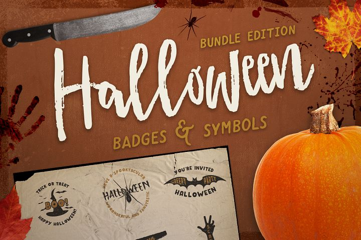 Halloween Badges / Retro Logo Set. Bundle Edition