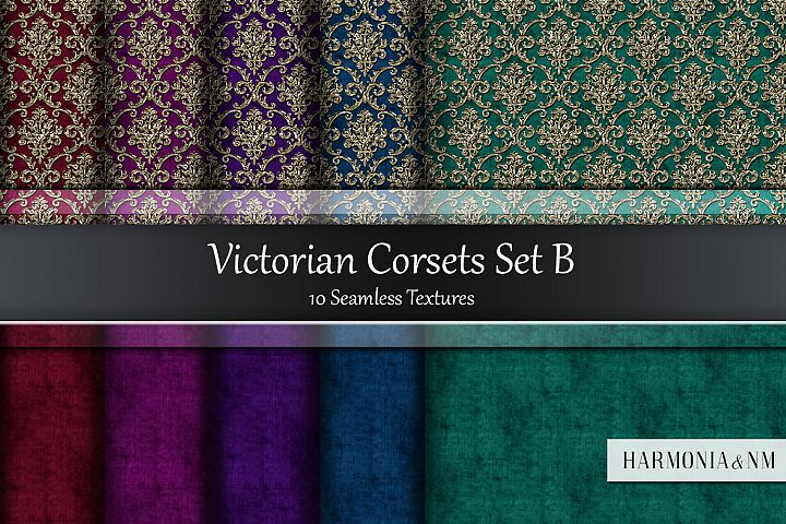 Victorian Corsets Set B Velvet Damask 10 Seamless Textures