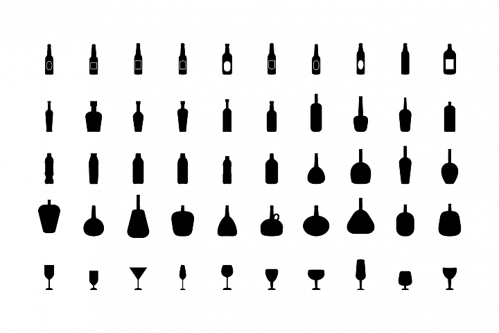 Bottles and glasses icons on white background