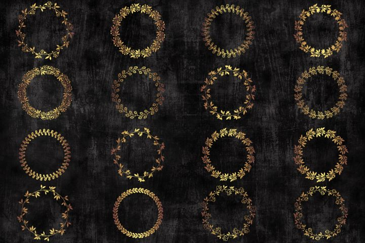 Gold circle floral wreaths clipart, Borders and Frames
