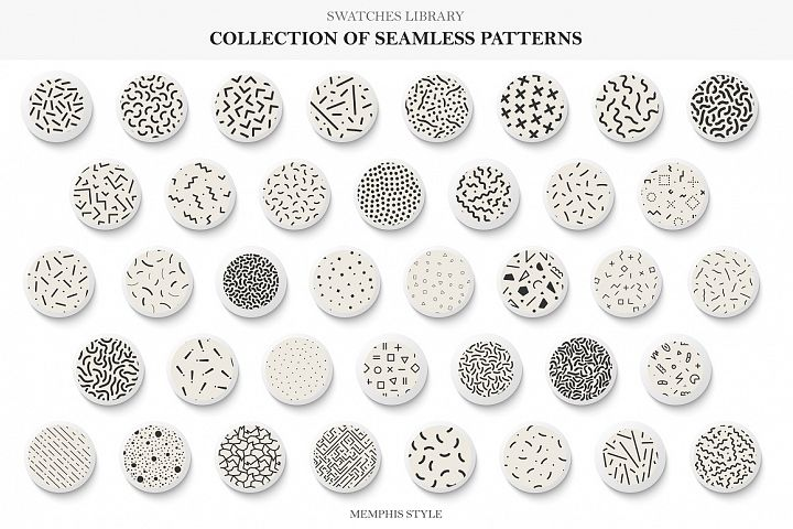 Seamless memphis vector patterns - swatches library.
