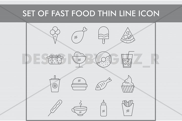 Set of Fast Food Thin Line Icons