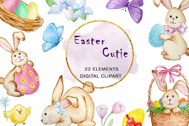 Watercolor Easter Cute Bunny Clipart Set