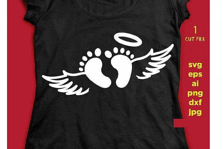 Baby Feet angel SVG Files for Cut Footprint Cricut, Shower D