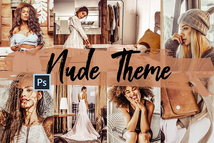 05 Nude Photoshop Actions, ACR and LUT presets, beige photo example image 1