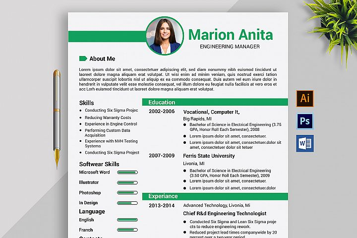 Professional Cv Resume Microsoft Word/Ai/PSD