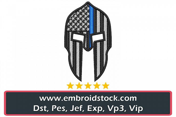 Thin Blue Line Molon Labe Spartan Helmet