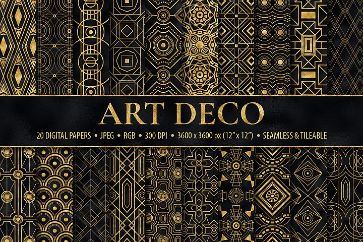 Seamless Art Deco Patterns - Black and Gold Digital Papers