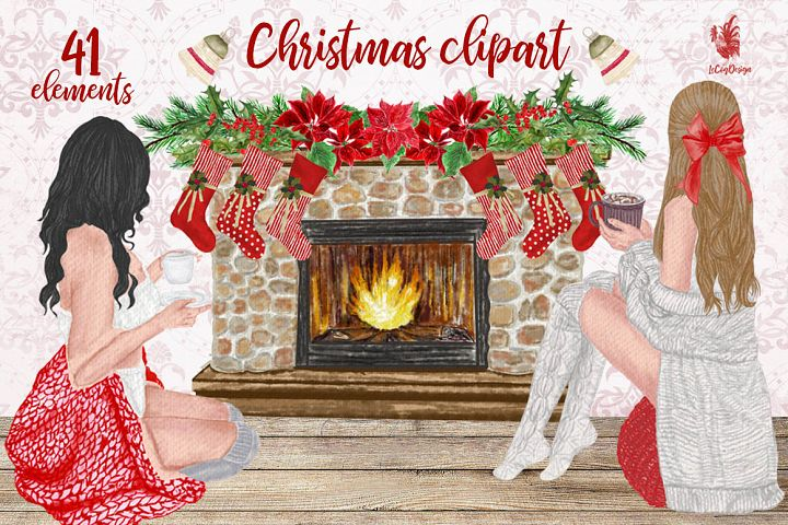 Christmas Girls Clipart, Fireplace and Stockings, Ornaments