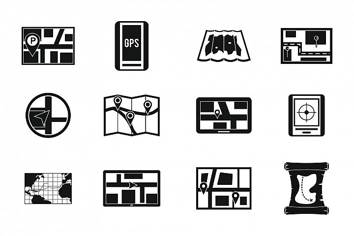 Gps map icon set, simple style