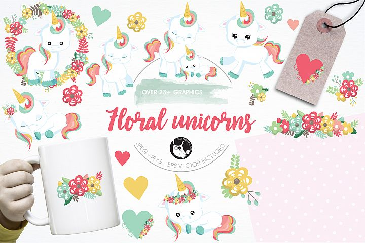 Floral unicorn graphics and illustrations