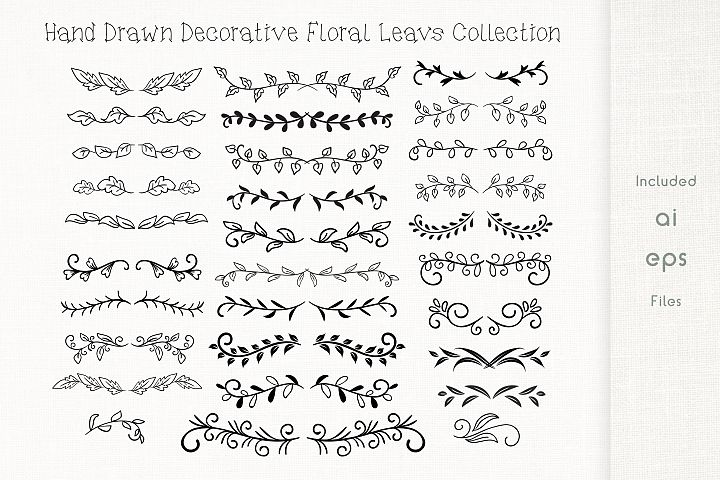 Hand Drawn Decorative Floral leavs Collection - Vector