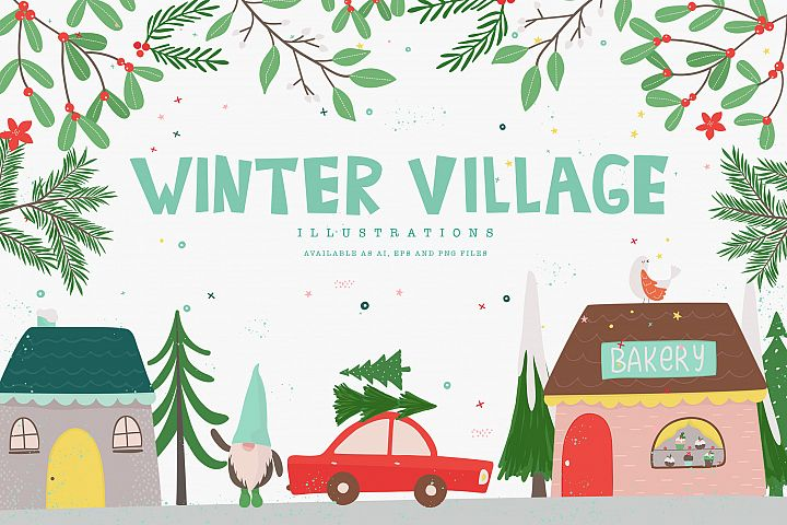 Winter Village Illustrations
