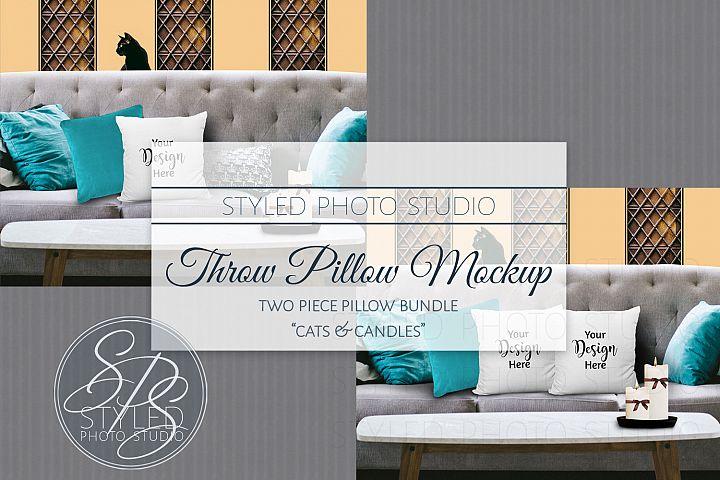 White Throw Pillow Mockup Bundle Set, Cat Love 2 JPGs