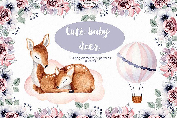 Cute baby Deer Watercolor clipart Baby animals