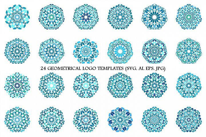 24 Floral Heptagon Logo Designs