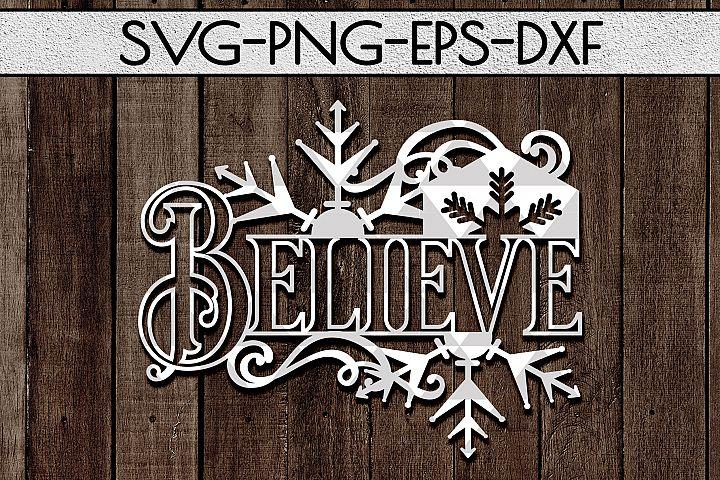 Believe frame Cutting File, Christmas Decor Papercut DXF PDF