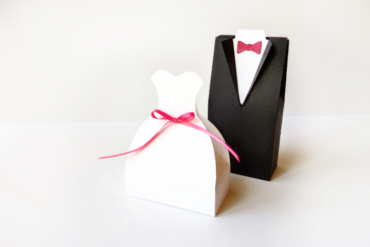 Wedding Dress and Tuxedo Box Set SVG PDF Design