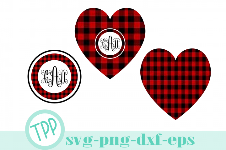 Buffalo Plaid Monogram svg, Holiday cut file bundle