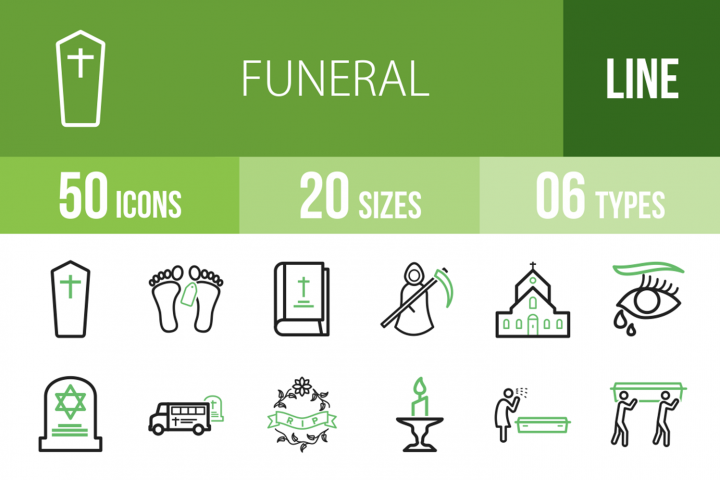 50 Funeral Line Green & Black Icons
