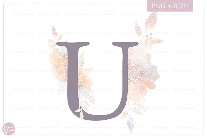 MONOGRAM Letter U Elegant Floral Monogram - Flower alphabet