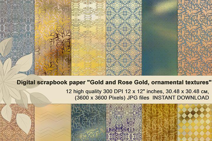 Gold and Rose Gold, Ornamental, Brilliant digital textures.