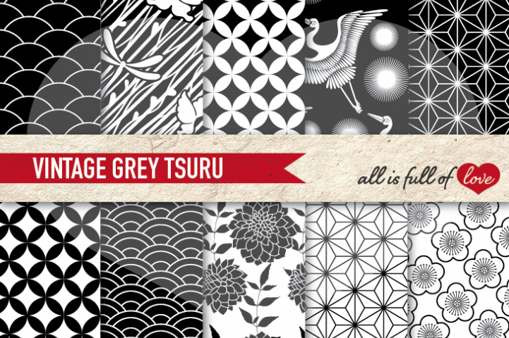 Japanese Graphics Black and White  Digital Background Patterns