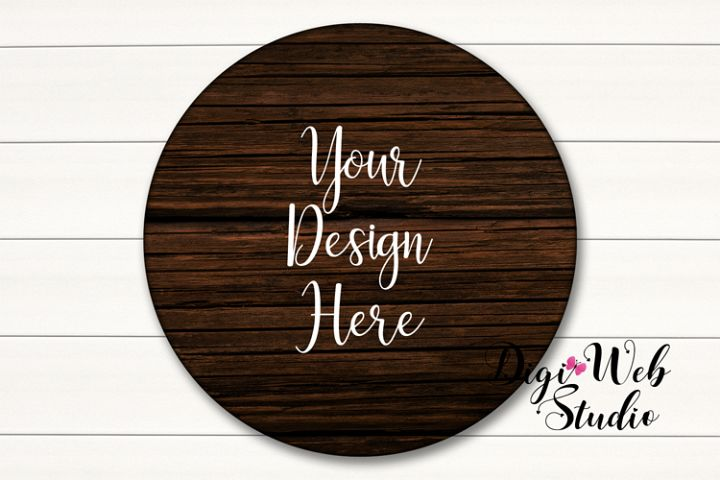 Wood Sign Mockup - Dark Round Wood Sign on White Shiplap