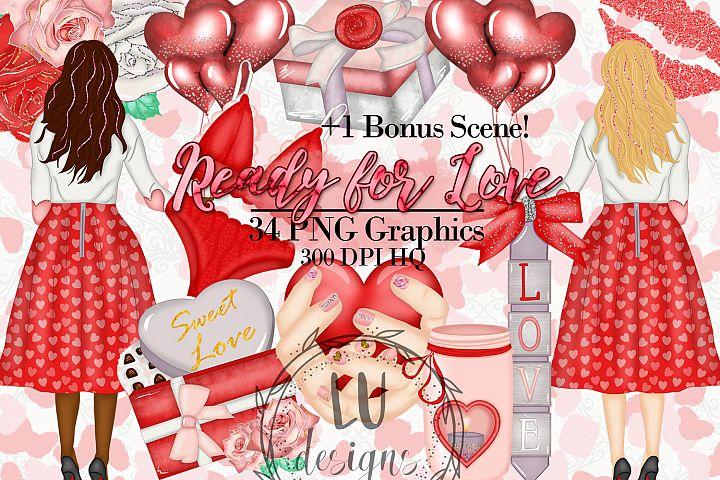 Valentines Day Clipart Set, Romantic Graphics, Love Clipart