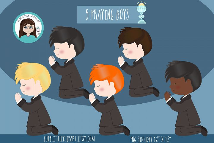 First Holy Communion Boys clipart praying