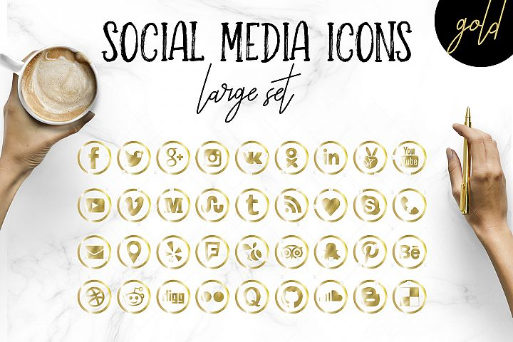 Social Media Icons Big Set in Gold