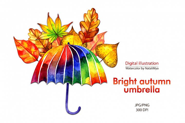 Watercolor rainbow umbrella