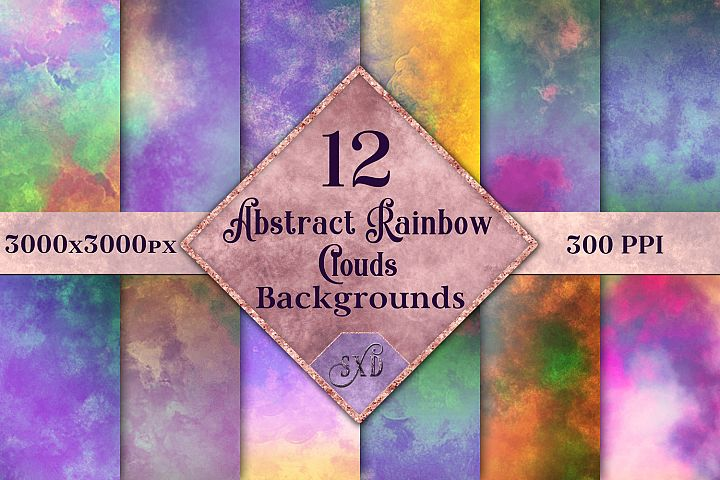 Abstract Rainbow Clouds Backgrounds - 12 Image Textures Set