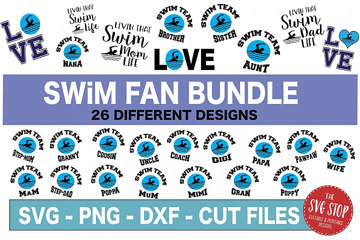 Swim Fan Bundle -SVG, PNG, DXF
